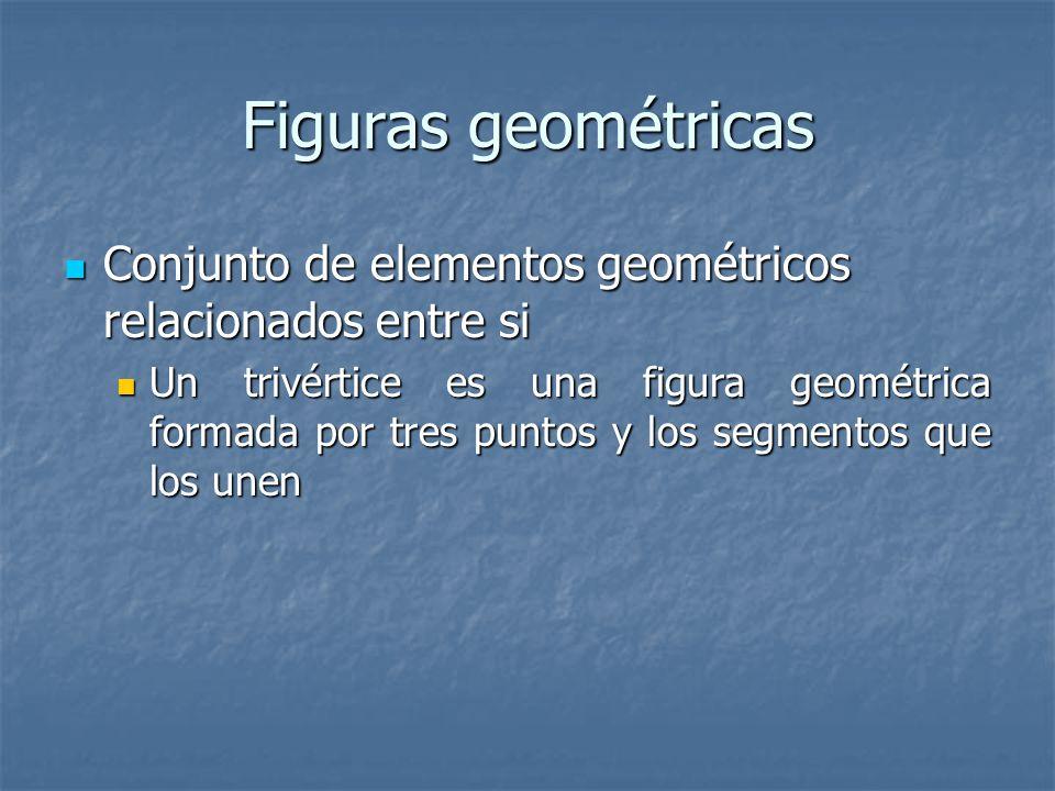 Figuras geométricas Conjunto de elementos geométricos relacionados entre si Conjunto de elementos geométricos relacionados entre si Un trivértice es una figura geométrica formada por tres puntos y los segmentos que los unen Un trivértice es una figura geométrica formada por tres puntos y los segmentos que los unen