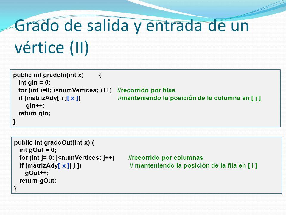 Grado de salida y entrada de un vértice (II) public int gradoIn(int x) { int gIn = 0; for (int i=0; i<numVertices; i++) //recorrido por filas if (matr