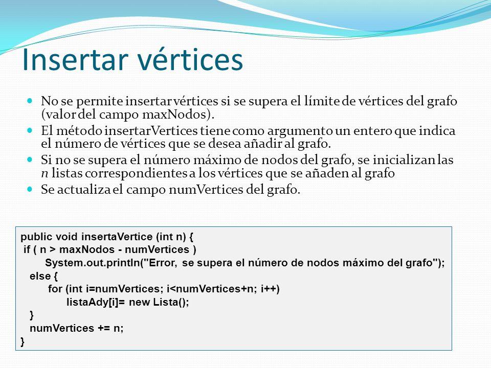 Insertar vértices No se permite insertar vértices si se supera el límite de vértices del grafo (valor del campo maxNodos). El método insertarVertices