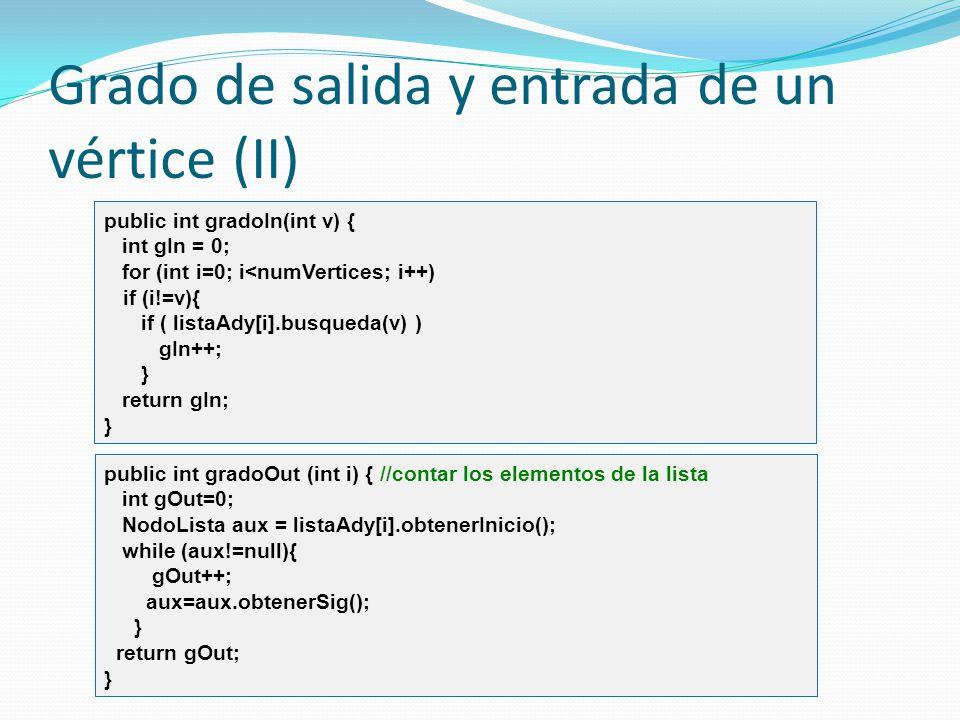 Grado de salida y entrada de un vértice (II) public int gradoIn(int v) { int gIn = 0; for (int i=0; i<numVertices; i++) if (i!=v){ if ( listaAdy[i].bu