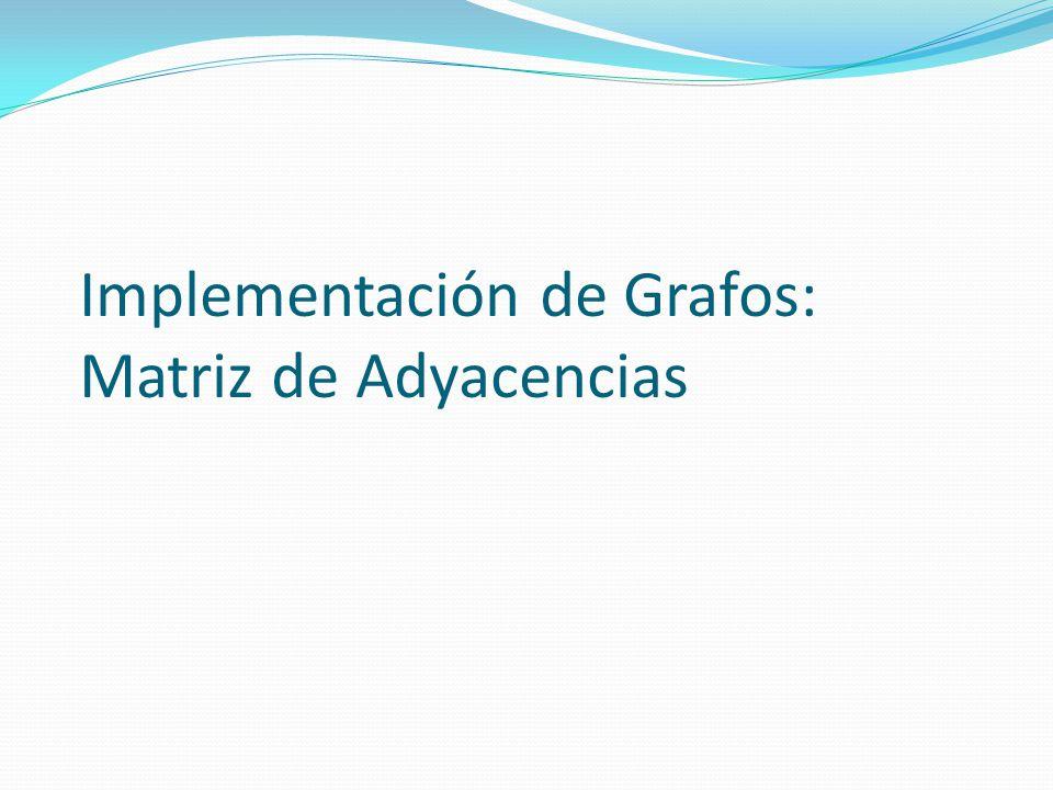 Implementación de Grafos: Matriz de Adyacencias
