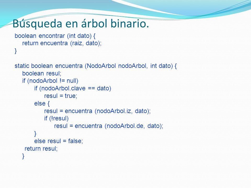 Búsqueda en árbol binario. boolean encontrar (int dato) { return encuentra (raiz, dato); } static boolean encuentra (NodoArbol nodoArbol, int dato) {