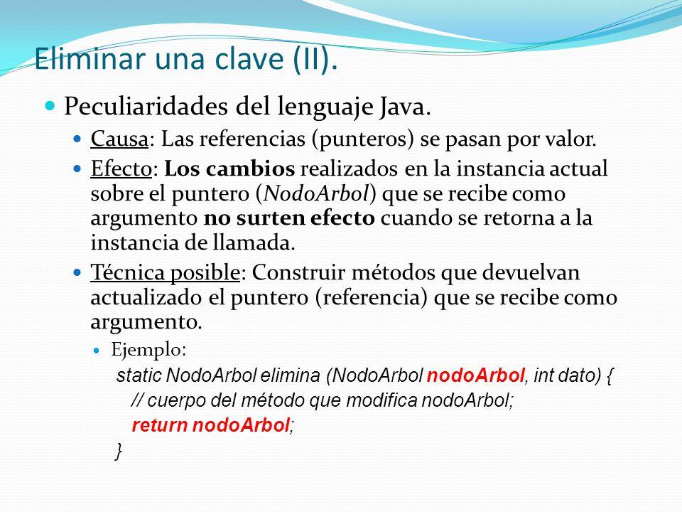 Peculiaridades del lenguaje Java. Causa: Las referencias (punteros) se pasan por valor. Efecto: Los cambios realizados en la instancia actual sobre el