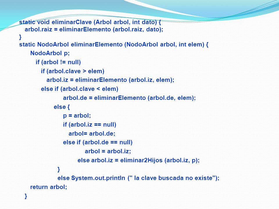 static void eliminarClave (Arbol arbol, int dato) { arbol.raiz = eliminarElemento (arbol.raiz, dato); } static NodoArbol eliminarElemento (NodoArbol arbol, int elem) { NodoArbol p; if (arbol != null) if (arbol.clave > elem) arbol.iz = eliminarElemento (arbol.iz, elem); else if (arbol.clave < elem) arbol.de = eliminarElemento (arbol.de, elem); else { p = arbol; if (arbol.iz == null) arbol= arbol.de; else if (arbol.de == null) arbol = arbol.iz; else arbol.iz = eliminar2Hijos (arbol.iz, p); } else System.out.println ( la clave buscada no existe ); return arbol; }
