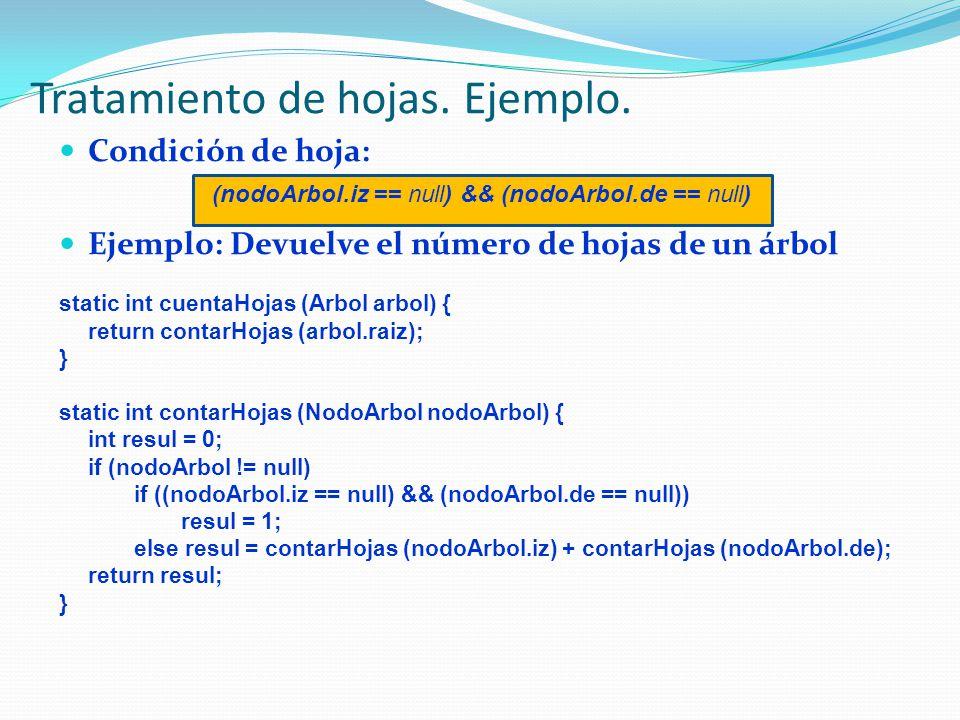 Condición de hoja: (nodoArbol.iz == null) && (nodoArbol.de == null) Ejemplo: Devuelve el número de hojas de un árbol static int cuentaHojas (Arbol arbol) { return contarHojas (arbol.raiz); } static int contarHojas (NodoArbol nodoArbol) { int resul = 0; if (nodoArbol != null) if ((nodoArbol.iz == null) && (nodoArbol.de == null)) resul = 1; else resul = contarHojas (nodoArbol.iz) + contarHojas (nodoArbol.de); return resul; } Tratamiento de hojas.