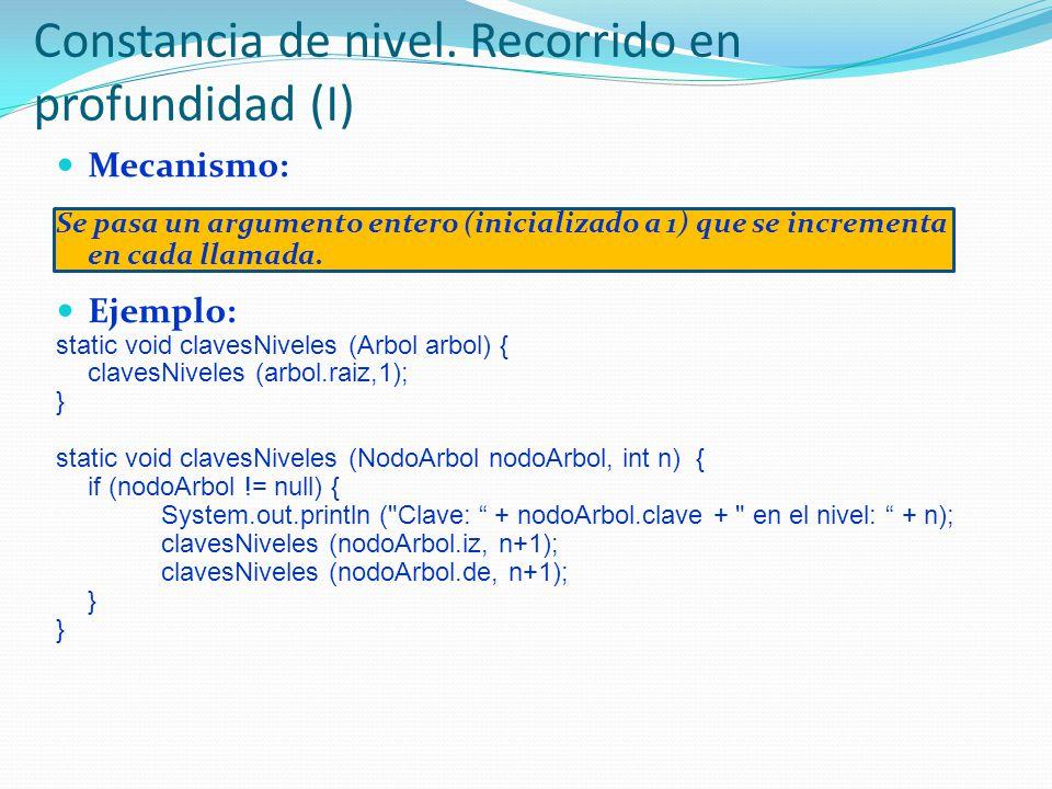 Mecanismo: Se pasa un argumento entero (inicializado a 1) que se incrementa en cada llamada. Ejemplo: static void clavesNiveles (Arbol arbol) { claves
