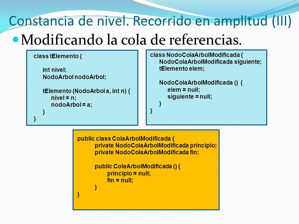 class tElemento { int nivel; NodoArbol nodoArbol; tElemento (NodoArbol a, int n) { nivel = n; nodoArbol = a; } Constancia de nivel. Recorrido en ampli