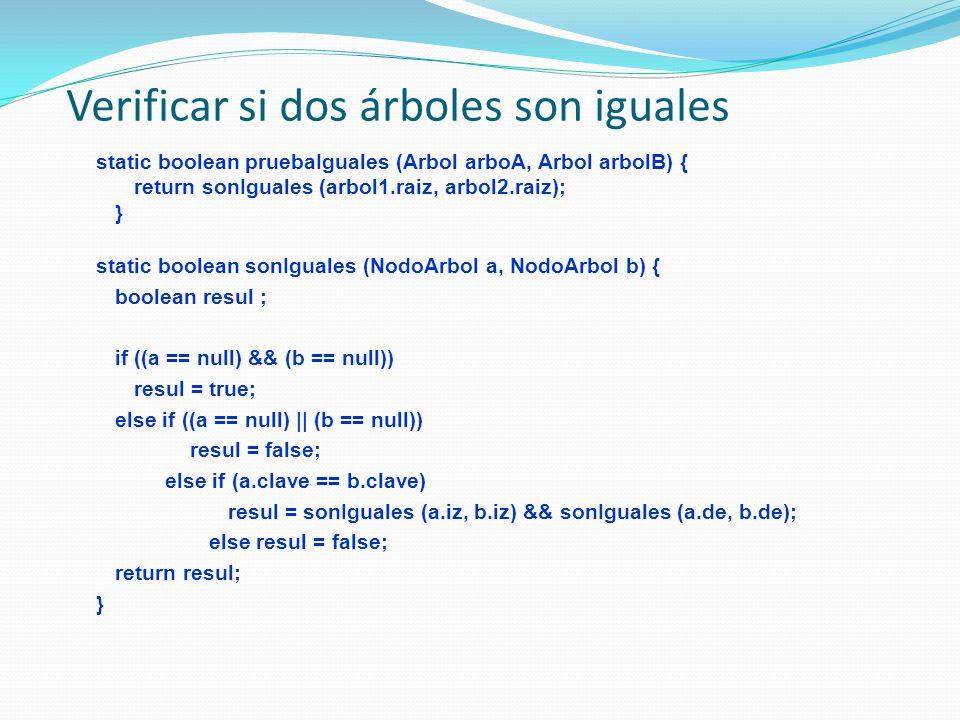 Verificar si dos árboles son iguales static boolean pruebaIguales (Arbol arboA, Arbol arbolB) { return sonIguales (arbol1.raiz, arbol2.raiz); } static boolean sonIguales (NodoArbol a, NodoArbol b) { boolean resul ; if ((a == null) && (b == null)) resul = true; else if ((a == null) || (b == null)) resul = false; else if (a.clave == b.clave) resul = sonIguales (a.iz, b.iz) && sonIguales (a.de, b.de); else resul = false; return resul; }