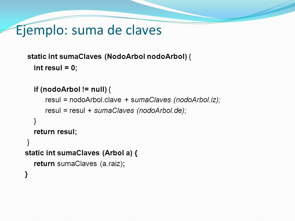 Ejemplo: suma de claves static int sumaClaves (NodoArbol nodoArbol) { int resul = 0; if (nodoArbol != null) { resul = nodoArbol.clave + sumaClaves (nodoArbol.iz); resul = resul + sumaClaves (nodoArbol.de); } return resul; } static int sumaClaves (Arbol a) { return sumaClaves (a.raiz); }