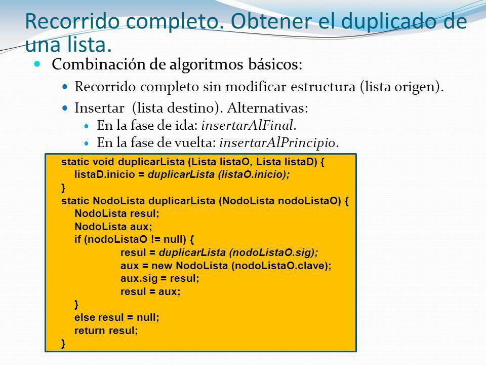 Combinación de algoritmos básicos: Recorrido completo sin modificar estructura (lista origen).