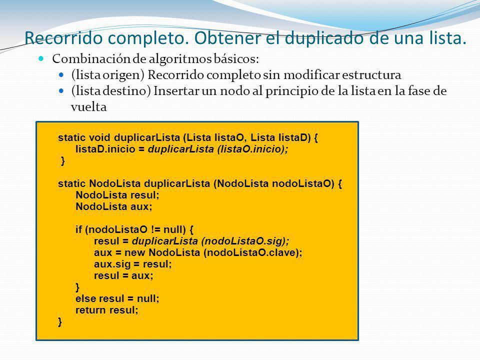 Combinación de algoritmos básicos: (lista origen) Recorrido completo sin modificar estructura (lista destino) Insertar un nodo al principio de la lista en la fase de vuelta static void duplicarLista (Lista listaO, Lista listaD) { listaD.inicio = duplicarLista (listaO.inicio); } static NodoLista duplicarLista (NodoLista nodoListaO) { NodoLista resul; NodoLista aux; if (nodoListaO != null) { resul = duplicarLista (nodoListaO.sig); aux = new NodoLista (nodoListaO.clave); aux.sig = resul; resul = aux; } else resul = null; return resul; } Recorrido completo.
