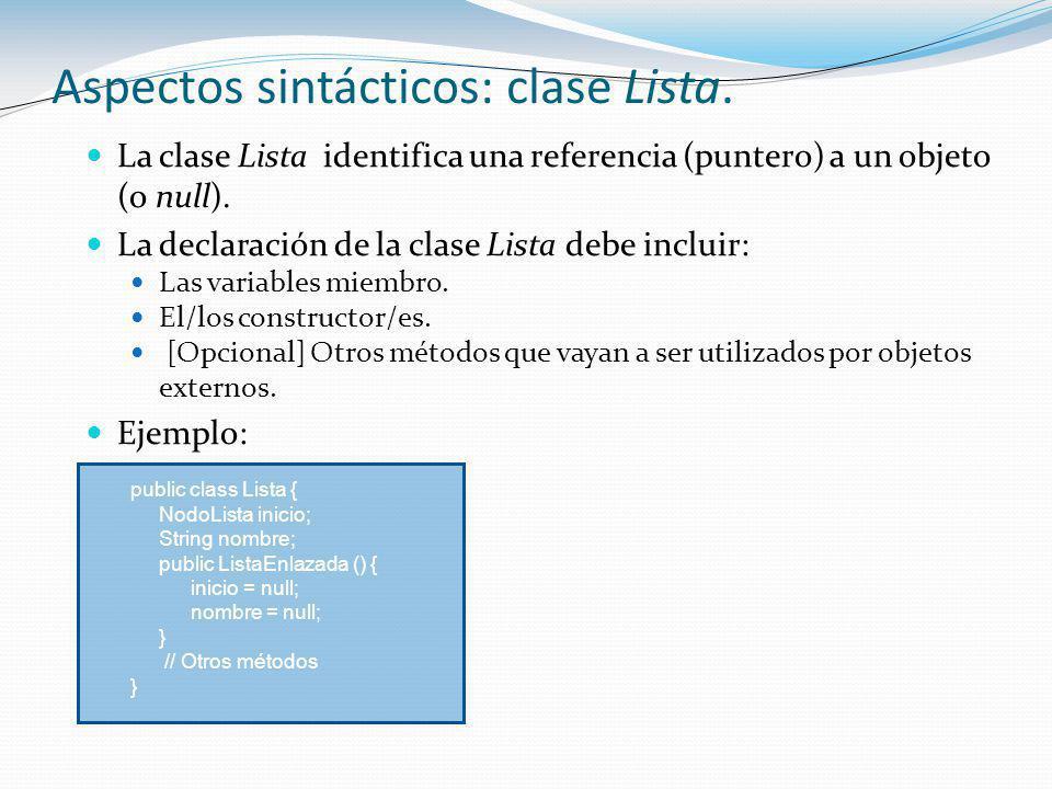 La clase Lista identifica una referencia (puntero) a un objeto (o null).