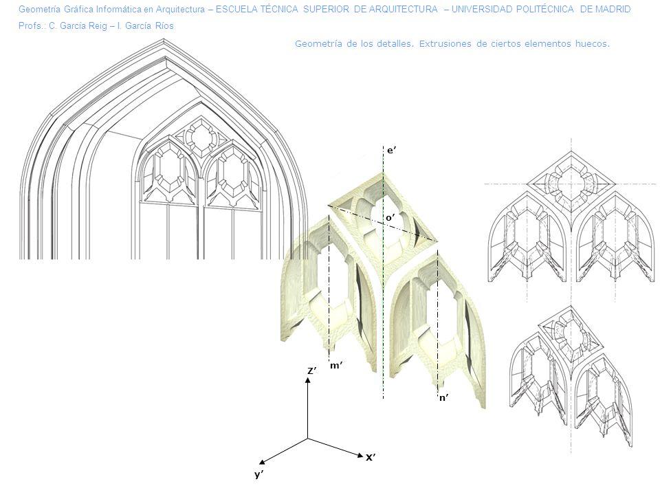 Geometría de los detalles.Extrusiones de ciertos elementos huecos.