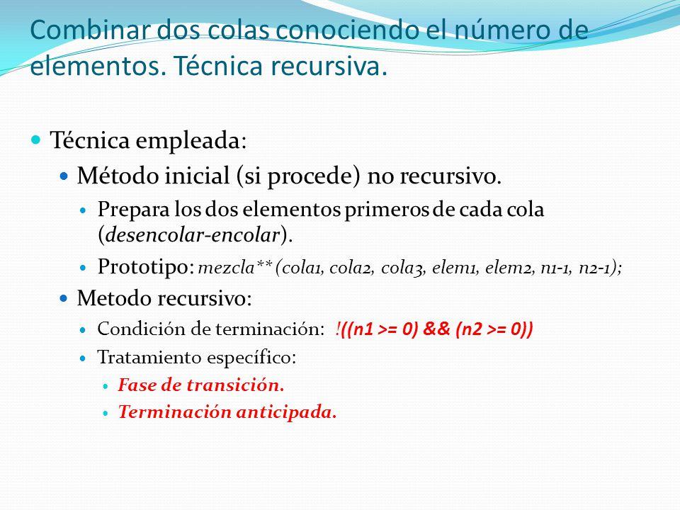 Técnica empleada: Método inicial (si procede) no recursivo.
