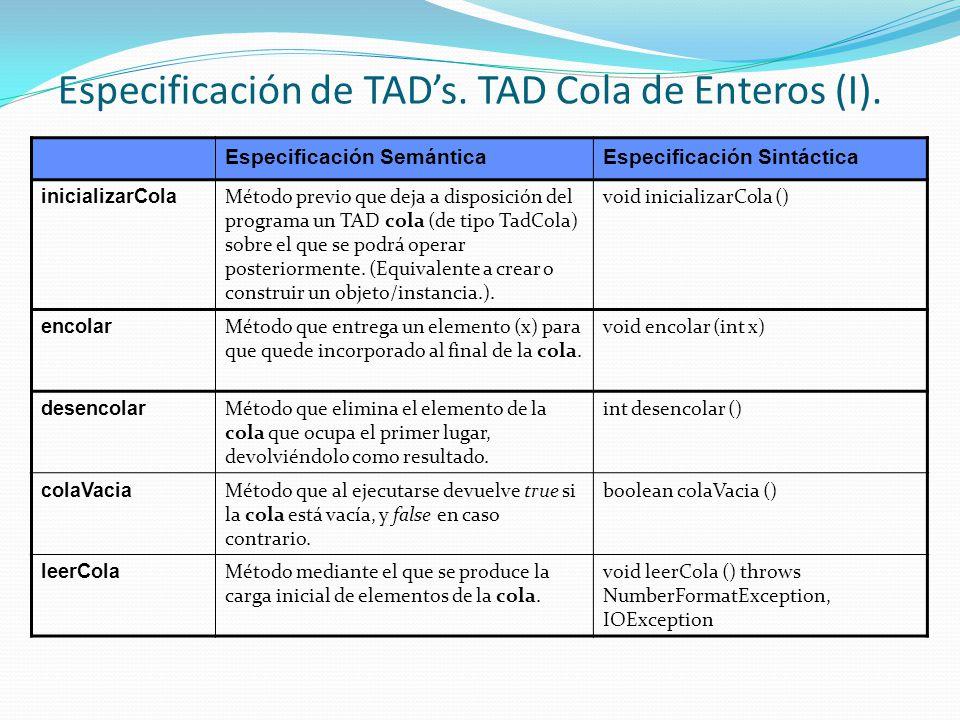 Especificación de TADs.TAD Cola de Enteros (I).