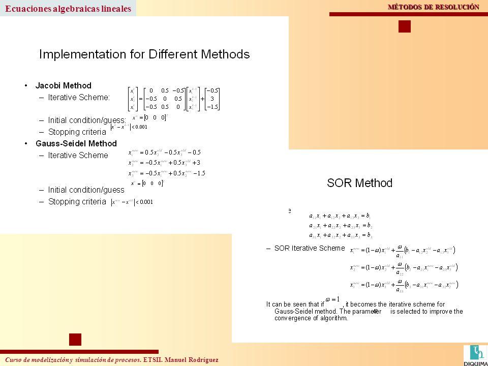 Curso de modelización y simulación de procesos. ETSII. Manuel Rodríguez Ecuaciones algebraicas lineales MÉTODOS DE RESOLUCIÓN