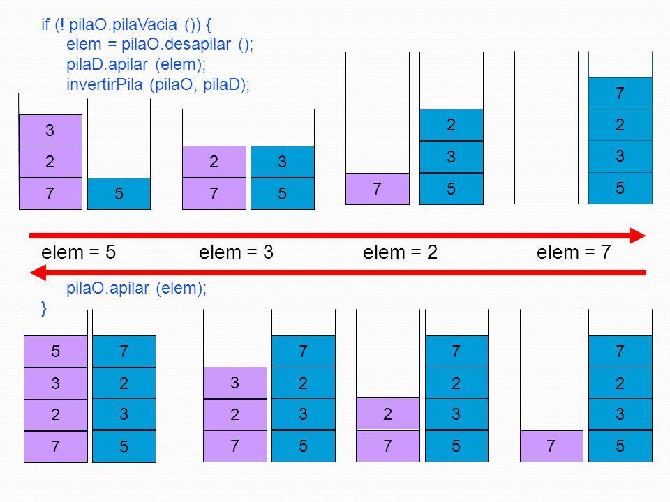 7 2 if (! pilaO.pilaVacia ()) { elem = pilaO.desapilar (); pilaD.apilar (elem); invertirPila (pilaO, pilaD); 3 5 elem = 3 7 2 3 5 elem = 5 7 2 5 elem