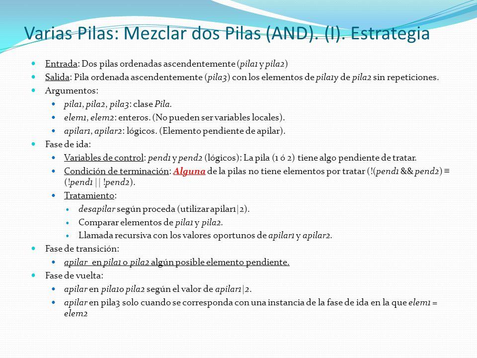 Varias Pilas: Mezclar dos Pilas (AND). (I). Estrategia Entrada: Dos pilas ordenadas ascendentemente (pila1 y pila2) Salida: Pila ordenada ascendenteme