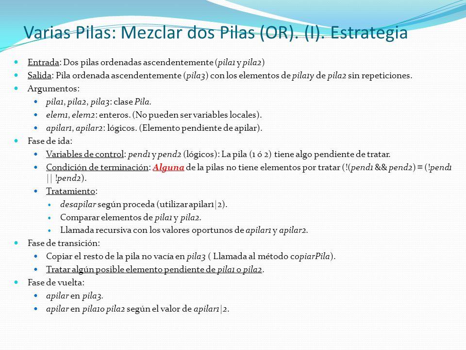 Varias Pilas: Mezclar dos Pilas (OR). (I). Estrategia Entrada: Dos pilas ordenadas ascendentemente (pila1 y pila2) Salida: Pila ordenada ascendentemen