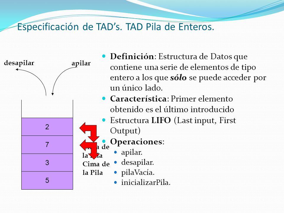 TAD Pila de Enteros: especificación (I) OperaciónEspecificación semánticaEspecificación sintáctica inicializarPilaMétodo que deja a disposición del programa un TAD pila sobre el que se podrá operar posteriormente.