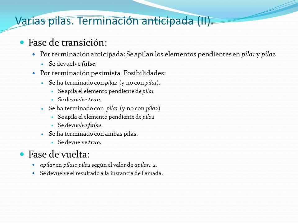 Varias pilas. Terminación anticipada (II). Fase de transición: Por terminación anticipada: Se apilan los elementos pendientes en pila1 y pila2 Se devu