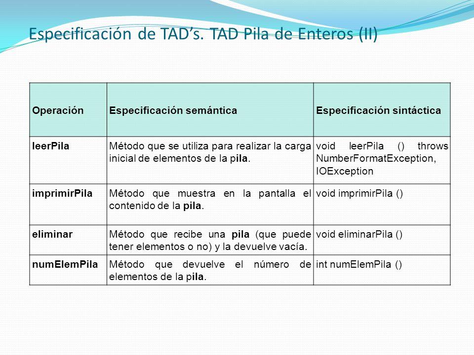 Especificación de TADs. TAD Pila de Enteros (II) OperaciónEspecificación semánticaEspecificación sintáctica leerPilaMétodo que se utiliza para realiza