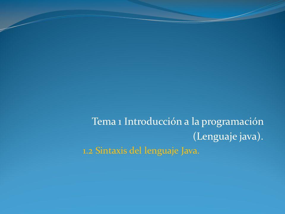 Tema 1 Introducción a la programación (Lenguaje java). 1.2 Sintaxis del lenguaje Java.