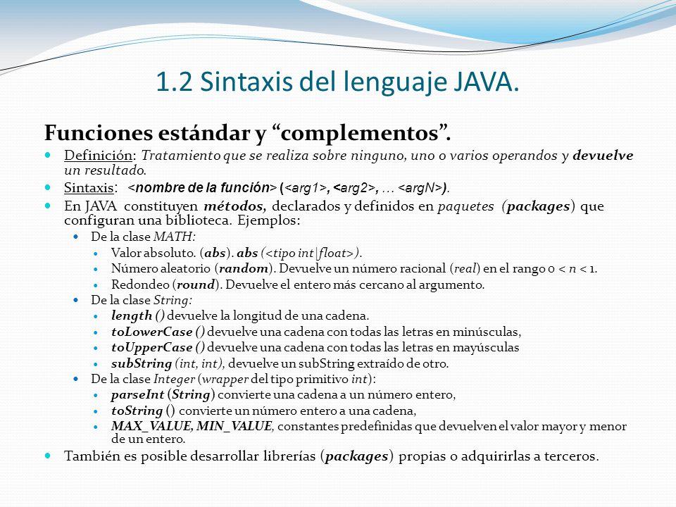 1.2 Sintaxis del lenguaje JAVA. Funciones estándar y complementos. Definición: Tratamiento que se realiza sobre ninguno, uno o varios operandos y devu