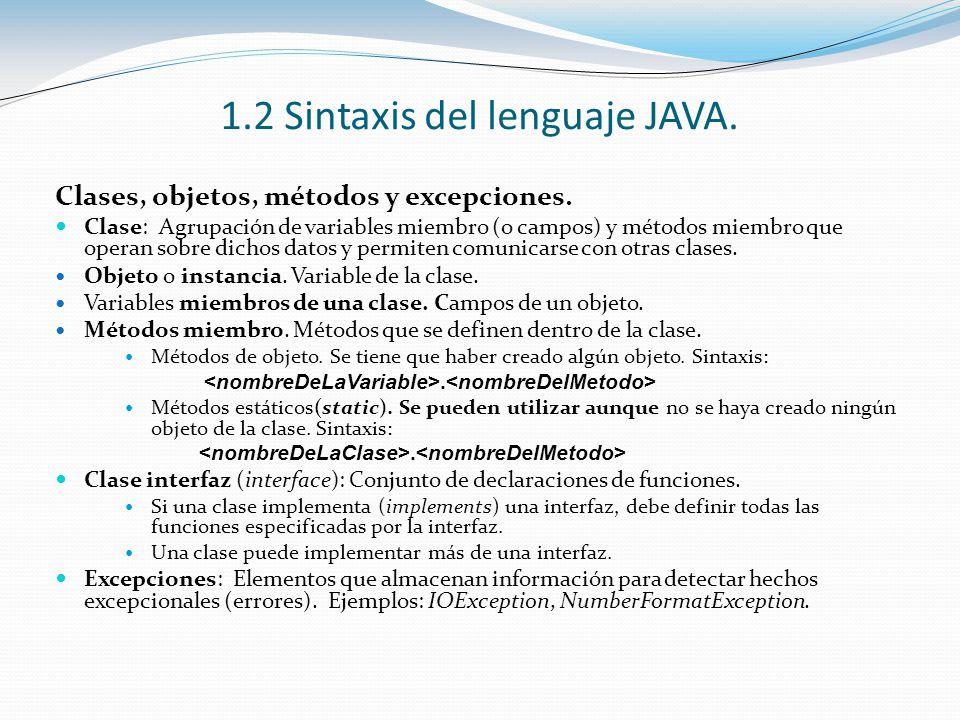 1.2 Sintaxis del lenguaje JAVA. Clases, objetos, métodos y excepciones. Clase: Agrupación de variables miembro (o campos) y métodos miembro que operan