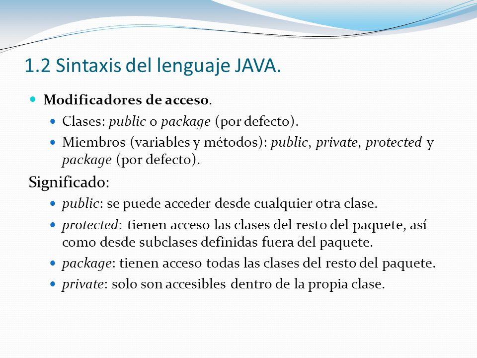 1.2 Sintaxis del lenguaje JAVA. Modificadores de acceso. Clases: public o package (por defecto). Miembros (variables y métodos): public, private, prot