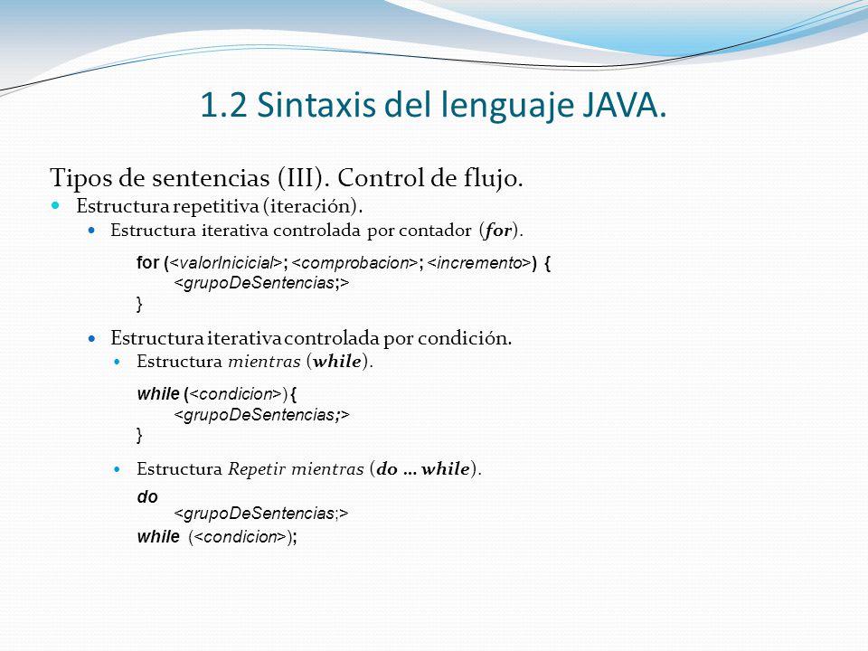 1.2 Sintaxis del lenguaje JAVA. Tipos de sentencias (III). Control de flujo. Estructura repetitiva (iteración). Estructura iterativa controlada por co