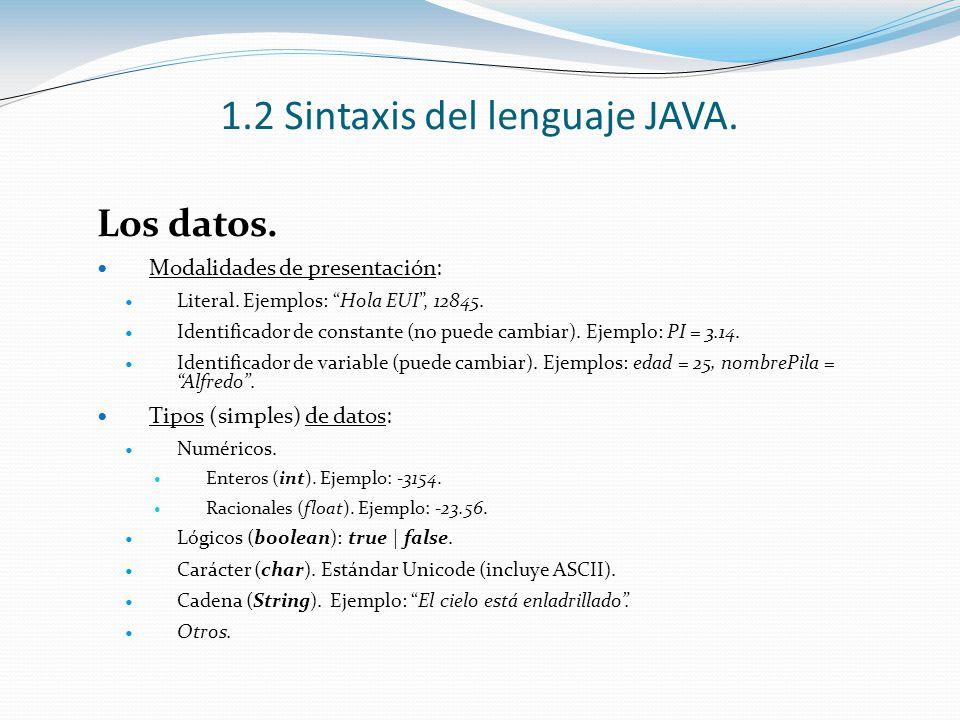 1.2 Sintaxis del lenguaje JAVA. Los datos. Modalidades de presentación: Literal. Ejemplos: Hola EUI, 12845. Identificador de constante (no puede cambi
