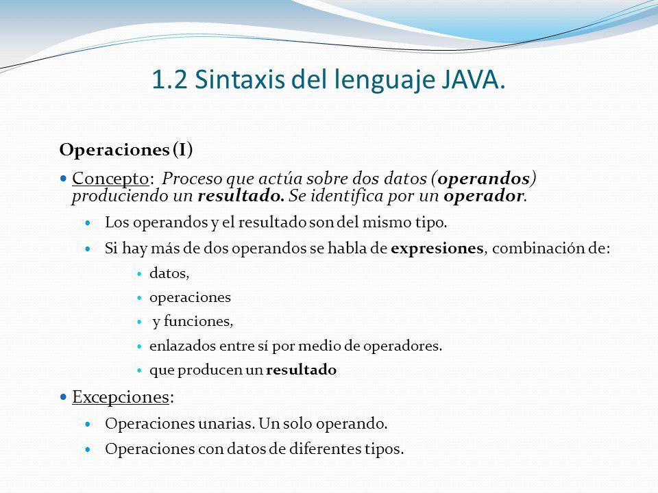 1.2 Sintaxis del lenguaje JAVA. Operaciones (I) Concepto: Proceso que actúa sobre dos datos (operandos) produciendo un resultado. Se identifica por un