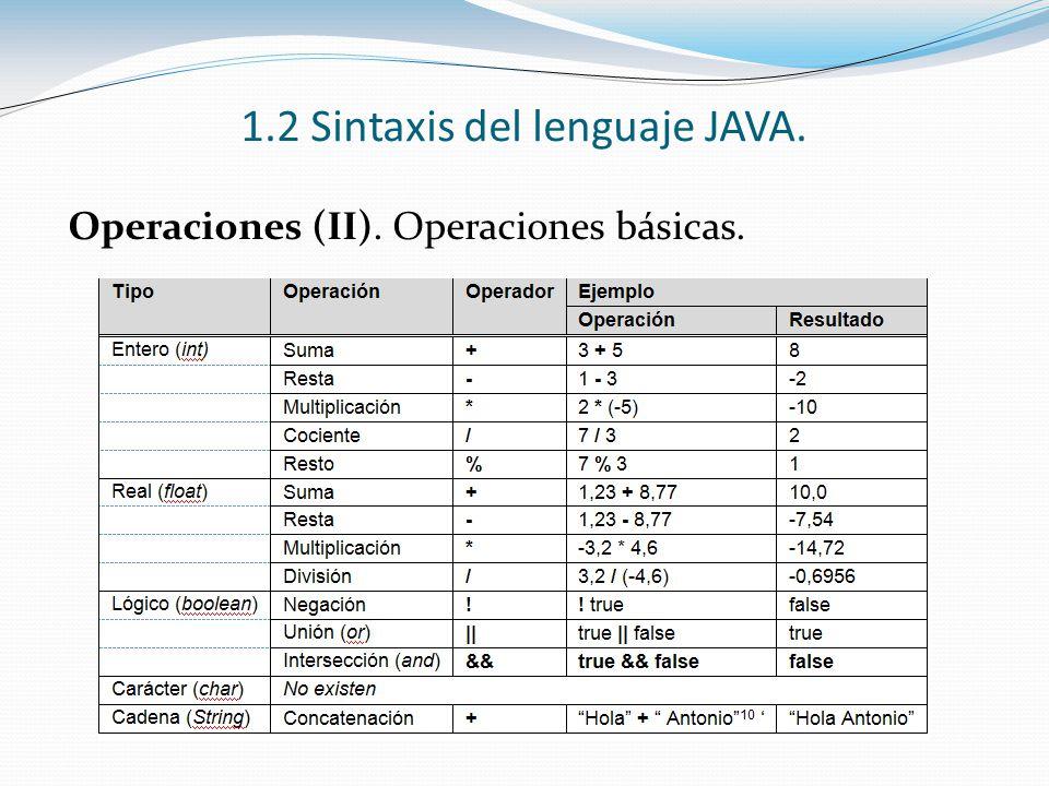 1.2 Sintaxis del lenguaje JAVA. Operaciones (II). Operaciones básicas.