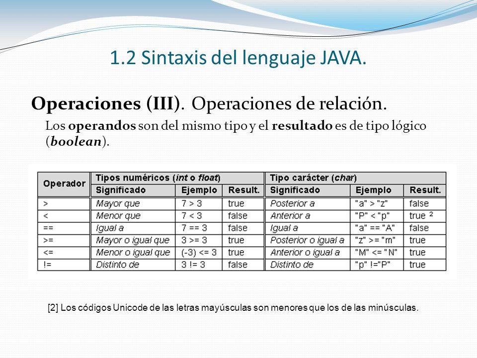 1.2 Sintaxis del lenguaje JAVA. Operaciones (III). Operaciones de relación. Los operandos son del mismo tipo y el resultado es de tipo lógico (boolean