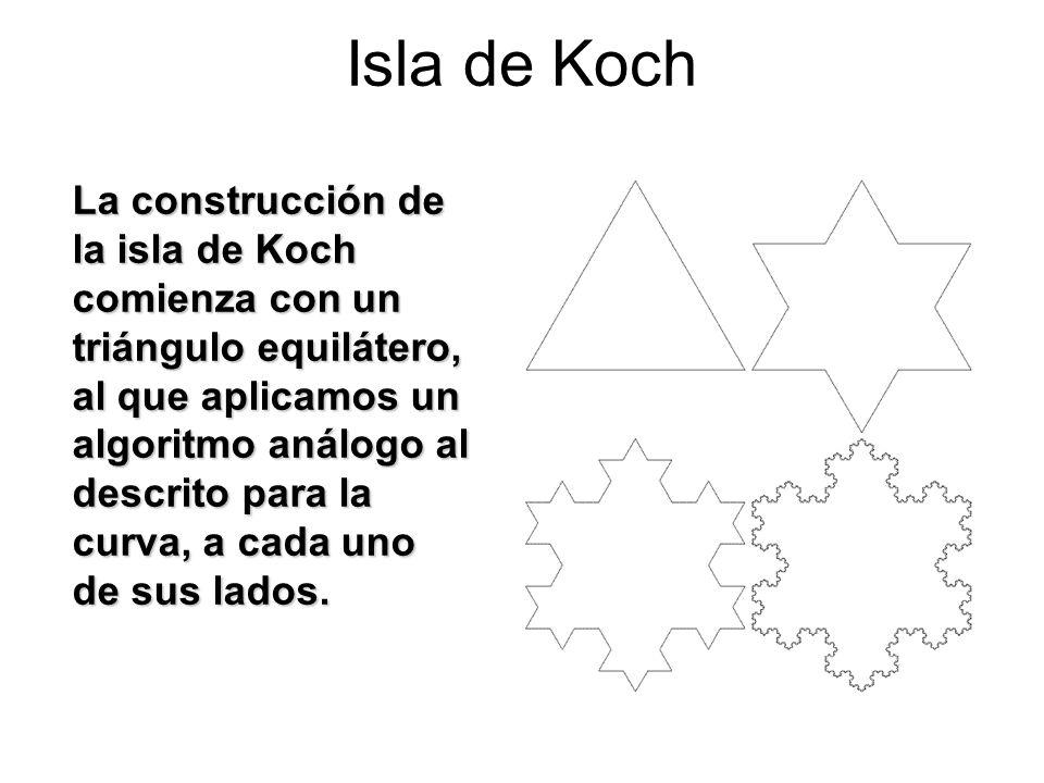 Isla de Koch La construcción de la isla de Koch comienza con un triángulo equilátero, al que aplicamos un algoritmo análogo al descrito para la curva,