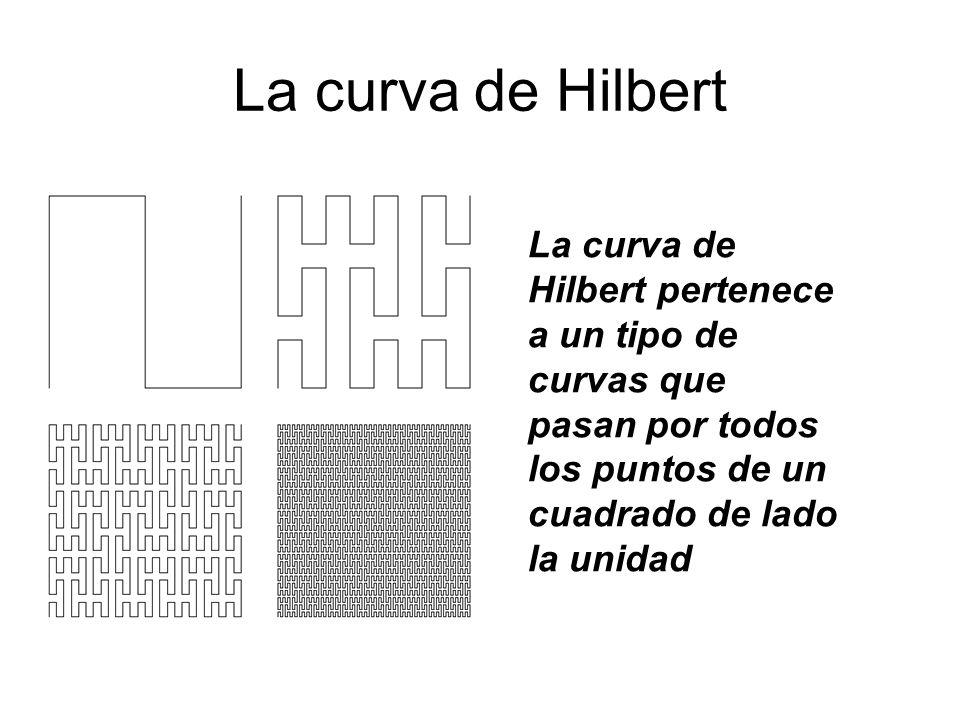 La curva de Hilbert La curva de Hilbert pertenece a un tipo de curvas que pasan por todos los puntos de un cuadrado de lado la unidad