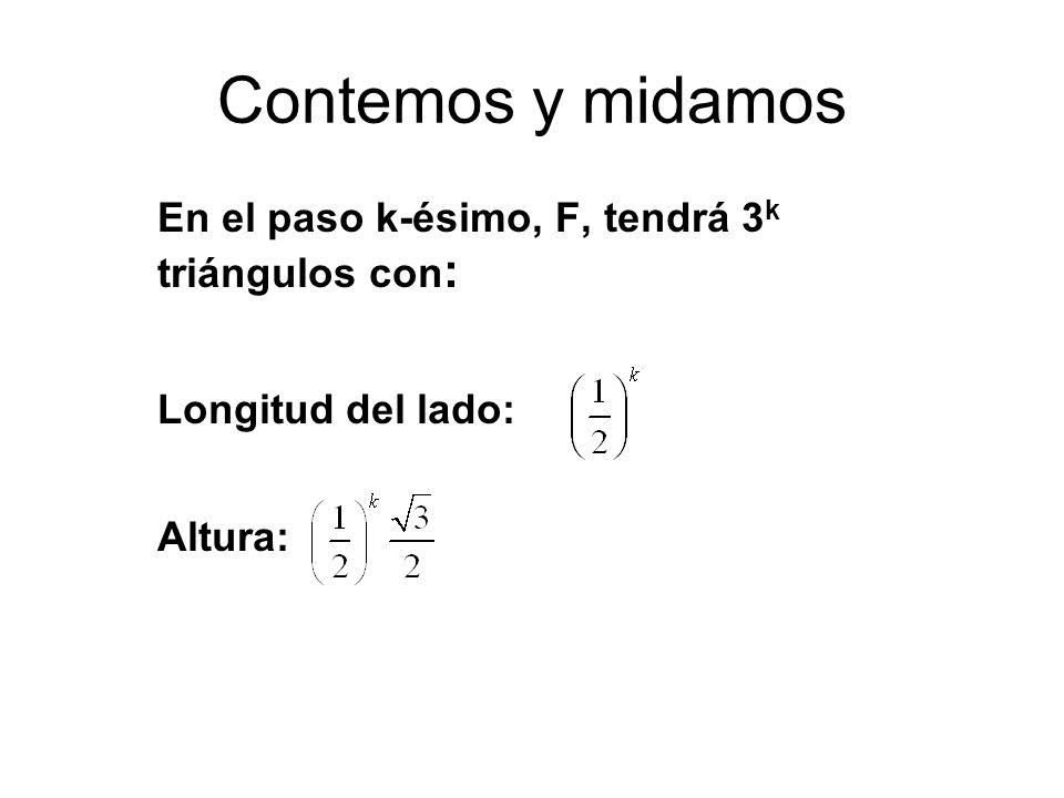 Contemos y midamos En el paso k-ésimo, F, tendrá 3 k triángulos con : Longitud del lado: Altura: