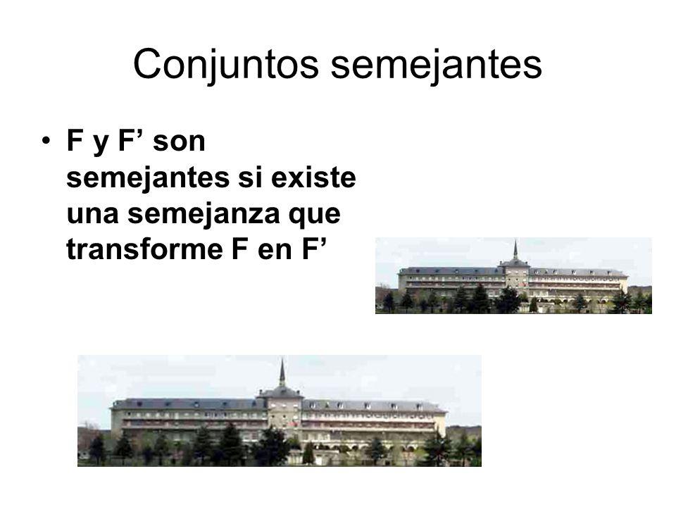 Conjuntos semejantes F y F son semejantes si existe una semejanza que transforme F en F