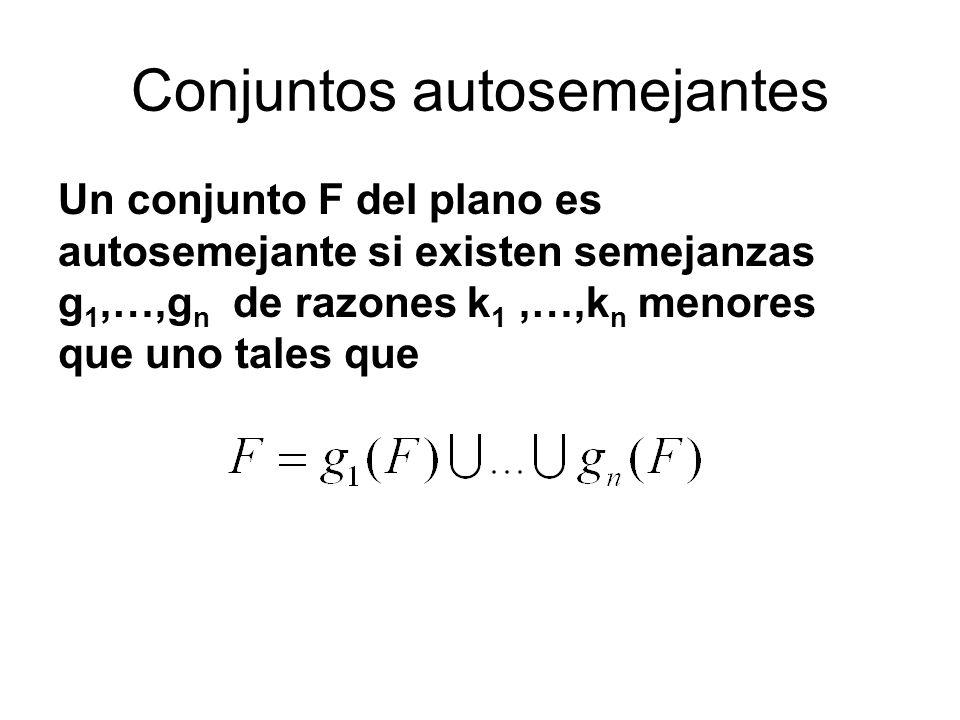 Conjuntos autosemejantes Un conjunto F del plano es autosemejante si existen semejanzas g 1,…,g n de razones k 1,…,k n menores que uno tales que