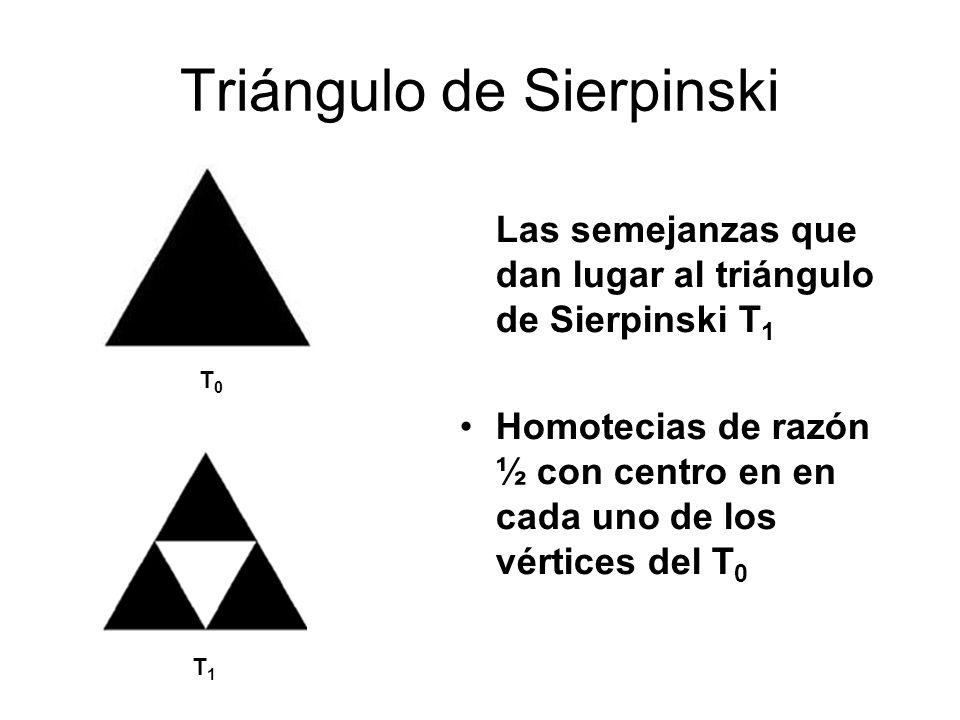 Triángulo de Sierpinski Las semejanzas que dan lugar al triángulo de Sierpinski T 1 Homotecias de razón ½ con centro en en cada uno de los vértices de