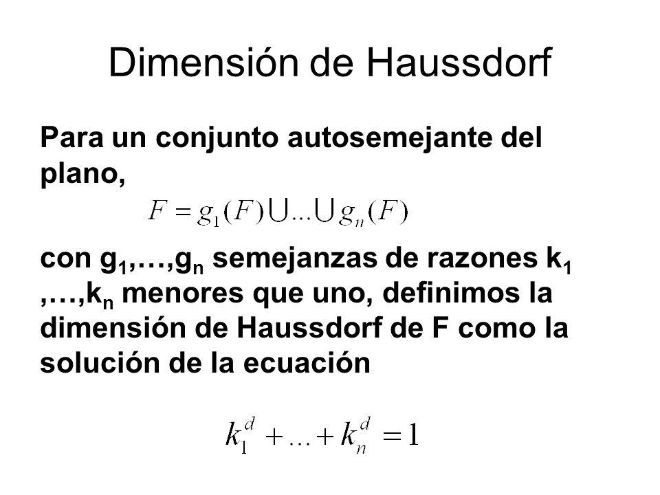 Dimensión de Haussdorf Para un conjunto autosemejante del plano, con g 1,…,g n semejanzas de razones k 1,…,k n menores que uno, definimos la dimensión