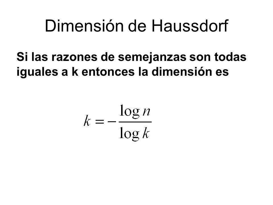 Dimensión de Haussdorf Si las razones de semejanzas son todas iguales a k entonces la dimensión es