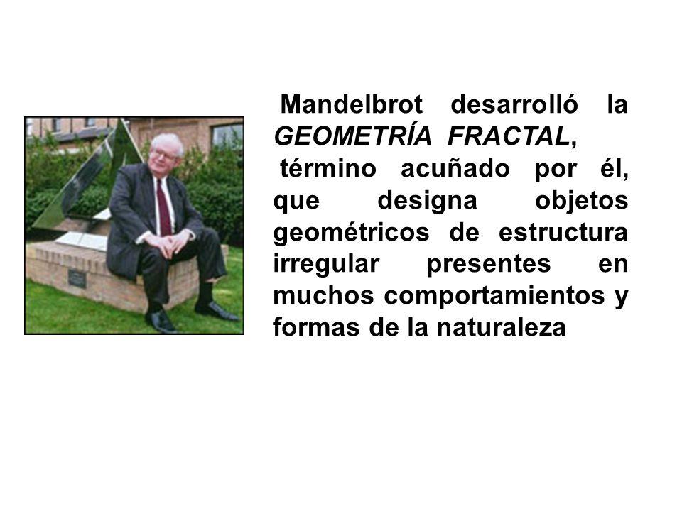Mandelbrot desarrolló la GEOMETRÍA FRACTAL, término acuñado por él, que designa objetos geométricos de estructura irregular presentes en muchos compor