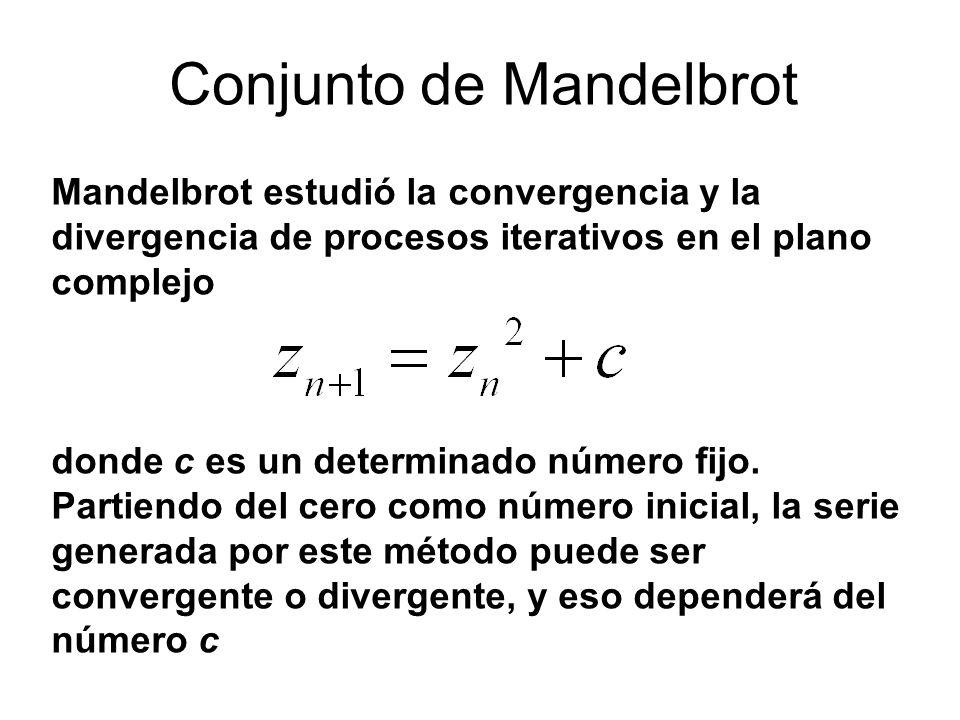 Mandelbrot estudió la convergencia y la divergencia de procesos iterativos en el plano complejo donde c es un determinado número fijo. Partiendo del c