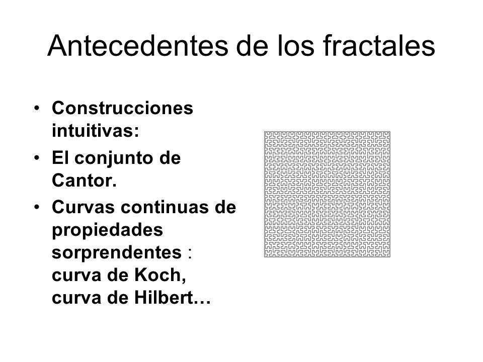Antecedentes de los fractales Construcciones intuitivas: El conjunto de Cantor. Curvas continuas de propiedades sorprendentes : curva de Koch, curva d