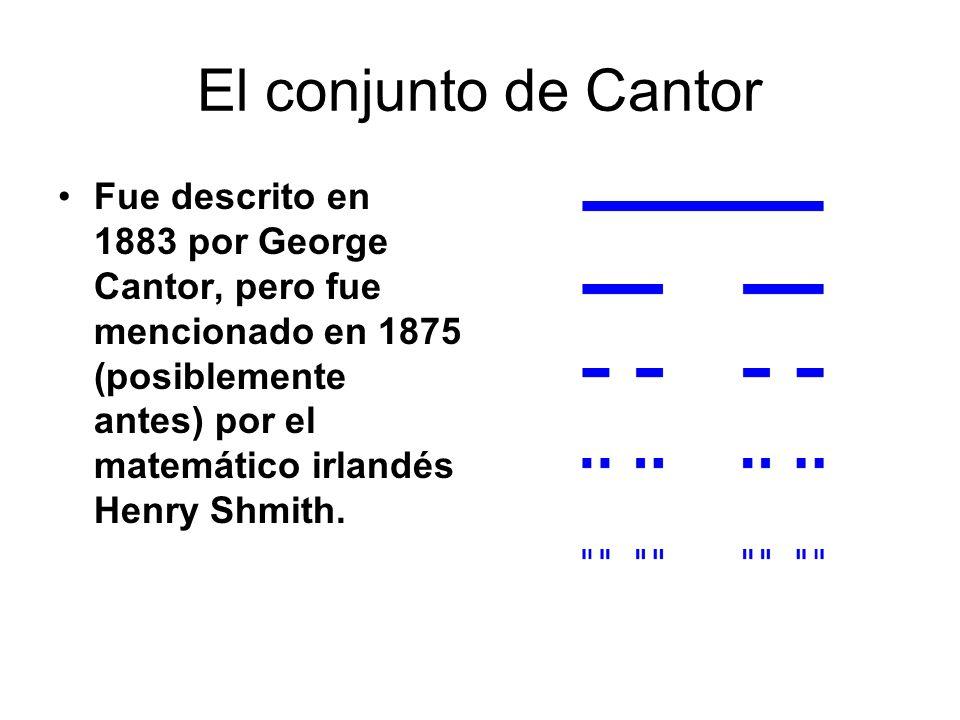 El conjunto de Cantor Fue descrito en 1883 por George Cantor, pero fue mencionado en 1875 (posiblemente antes) por el matemático irlandés Henry Shmith
