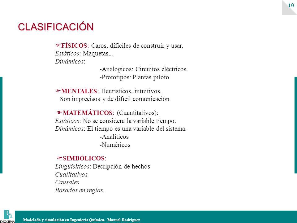 Modelado y simulación en Ingeniería Química. Manuel Rodríguez 10CLASIFICACIÓN FÍSICOS: Caros, díficiles de construir y usar. Estáticos: Maquetas,.. Di