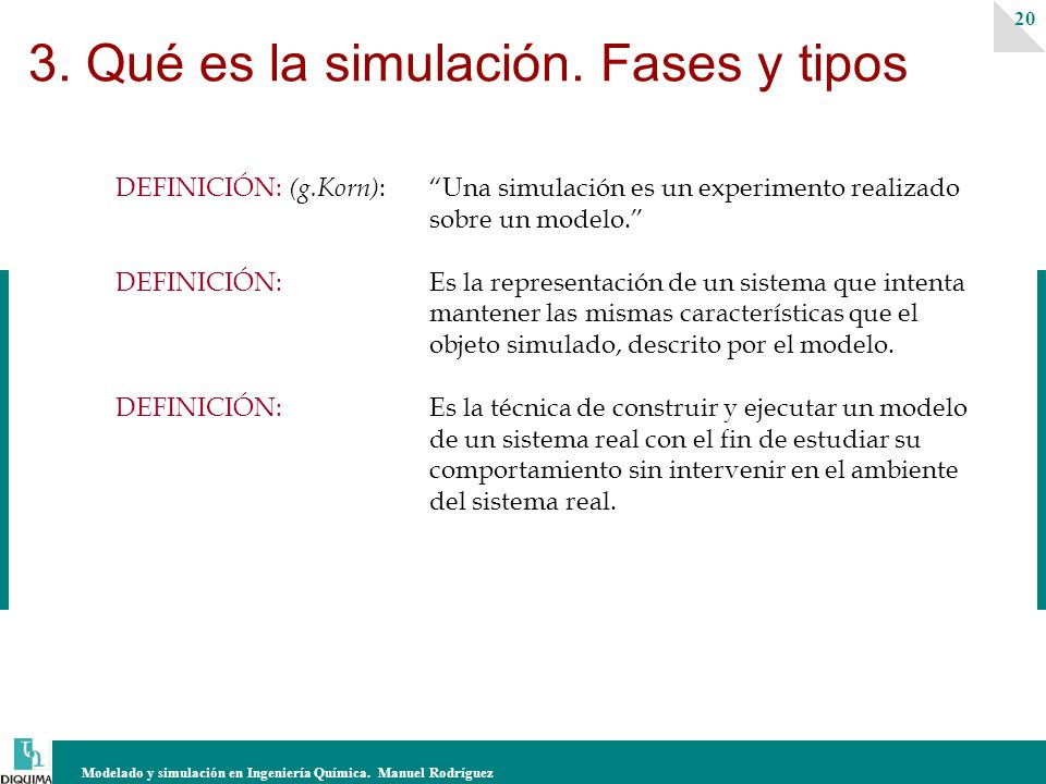 Modelado y simulación en Ingeniería Química. Manuel Rodríguez 20 3. Qué es la simulación. Fases y tipos DEFINICIÓN: (g.Korn) : Una simulación es un ex
