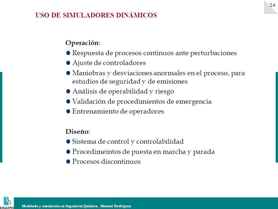 Modelado y simulación en Ingeniería Química. Manuel Rodríguez 24 USO DE SIMULADORES DINÁMICOS Operación : Respuesta de procesos continuos ante perturb